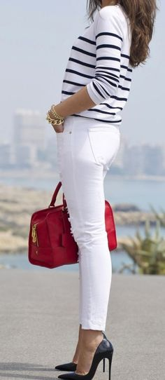 Pop Of Red Outfit Idea