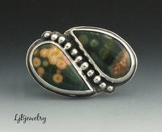 Anillo de jaspe océano, anillo de plata, plata, jaspe, Metalsmith anillo, anillo de instrucción, tamaño de anillo hecho a mano, cóctel anillo, 9