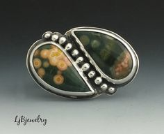 Ocean Jasper Ring, Silver Ring, Sterling Silver, Jasper, Metalsmith Ring, Statement Ring, Cocktail ring, Handmade, Ring size 9
