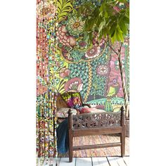 An artistic bohemian wallpaper mural inspired by the island of Ibiza 330278 Red Kaleidoscopic Floral - Paraiso - Eijffinger Wallpaper