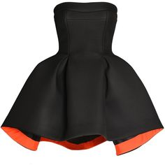 Parlor - Flower Dress ($570) ❤ liked on Polyvore featuring dresses, vestidos, short dresses, black, short flower dresses, short asymmetrical dress, parlor, blossom dresses and short mini dresses