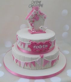 I really enjoyed this cake for a little girl's Christening. Her mum wanted a little robin featured and so I decided to craft a birdhouse to complete the topper. The bottom tier was vanilla with butterscotch buttercream and the top tier was vanilla...