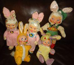 5 Vintage Gund j.swedlin.inc bunny knickerbocker BG rubber face rushton type #GUND