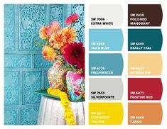 Paint colors from Chip It! by Sherwin-Williams- aqua beige and red and yellow Turquoise Paint Colors, Turquoise Painting, Yellow Painting, Red Yellow Turquoise, Red And Teal, Color Schemes Colour Palettes, Paint Color Schemes, Color Combos, Sherwin Williams Color Palette