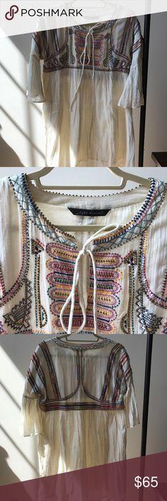 ZARA Bohemian Beaded Shift Dress ZARA bohemian crepe material shift dress beaded with earthy colours🥑 - Looks very pretty with tights & boots & a denim jacket Zara Dresses