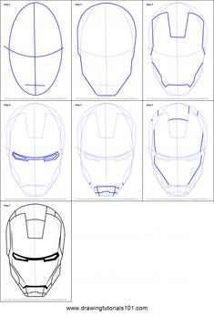 to Draw Iron Man's Helmet printable step by step drawing sheet : DrawingTuto. How to Draw Iron Man's Helmet printable step by step drawing sheet : DrawingTuto. , How to Draw Iron Man's Helmet printable step by step drawing sheet : DrawingTuto. Avengers Drawings, Drawing Superheroes, Iron Man Wallpaper, Iron Men, Iron Man Drawing Easy, Iron Man Kunst, Ironman Tattoo, Helmet Drawing, Mask Drawing