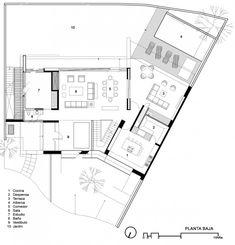 Casa Cuatro by Hernández Silva Arquitectos Sims House Plans, Modern House Plans, Modern House Design, House Floor Plans, Home Design Plans, Plan Design, Architecture Plan, Residential Architecture, Cad 2d
