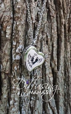 For a Cause Locket - Heart Silver Angel Baby (30mm) Aromatherapy / Essential Oils Diffuser Locket Necklace