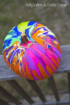 Pumpkin decorated with acrylic paint (one of several diy pumpkin ideas)