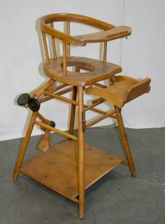 Childu0027s High Chair & Vintage Baby High Chair Converts to Low Play Chair / Desk on Wheels ...