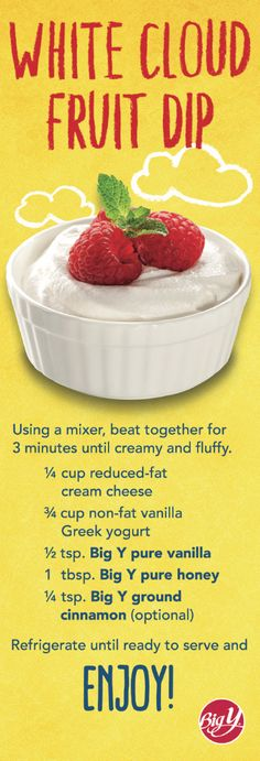 from big y a white cloud fruit dip recipe from our 2018 science fare calendar
