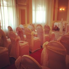 Chair Covers & Sashes set for a wedding ceremony supplied by Celebration Events at the Imperial Hitel Llandudno North Wales