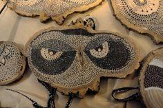 hand stippled black on wood owls by BoredomsAnswer on Etsy