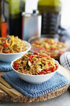 Loaded with fresh roasted vegetables, this orzo pasta salad recipe features a tangy Dijon-balsamic vinaigrette. Served warm or chilled, it makes for a quick and easy summer side dish.