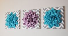 "CHOOSE THREE COLORS- Dahlia Wall Flowers -Mix and Match Your Colors- 12 x12"" Canvas Wall Art- 3D Felt Flower. $93.00, via Etsy. -- I'm pretty sure I could make this...for above the dresser/changing table?"