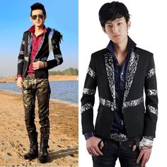 Cool Black Sequin Fitted Dress Gothic Pinup Prom Suit Jackets Men  SKU-11401275