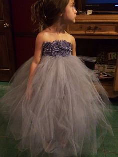 Please read entire listing! ❤️Dress is constructed of a gray unlined crochet tutu top and 2 layers of tulle for a subtle poof.  All of my