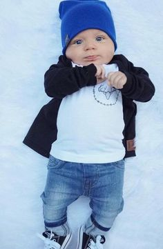 Royal Blue | Sweater Knit Beanie. Baby fashion beanie outfit style