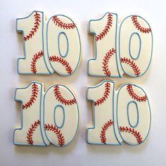 Number 10 BASEBALL sugar cookies