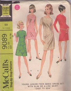 MOMSPatterns Vintage Sewing Patterns - McCall's 9089 Vintage 60's Sewing Pattern FAB Mod Dart Fitted Sheath or A-Line Party Dress, Day Dress Set Size 15/16