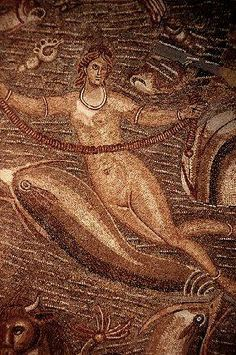 Néréide, dolphins and other sea creatures. Detail of a Roman mosaic from Carthage. Tunisia.