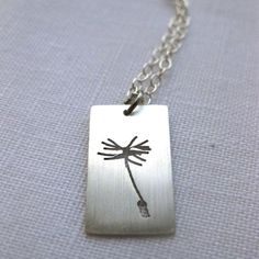 Silver Saw Pierced Single Dandelion Seed Pendant £21.00  By Mikylla Claire Jewellery