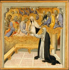 Saint Catherine of Siena Exchanging Her Heart with Christ by Giovanni di Paolo (1398-1482) tempera and gold on wood