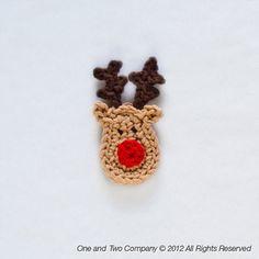 Reindeer Applique  PDF Crochet Pattern  por oneandtwocompany