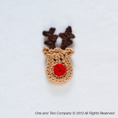 Reindeer Applique - PDF Crochet Pattern - Instant Download - Embellishment Hairclip Ornament scrapbooking Christmas Animal