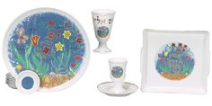 Passover Pesach Seder Plate and Matzah Plate,Wine Cup and Elijah Cup. Porcelan Set.
