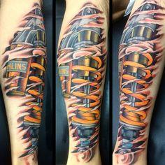 Hot Rod Tattoo - Hot Rod Tattoo , Faces Of the Region Opening Reception for Pumped Up the Weird Tattoos, 3d Tattoos, Tattoos For Guys, Cool Tattoos, Tatoos, Shock Tattoo, Skin Tear Tattoo, Cyborg Tattoo, Hot Rod Tattoo