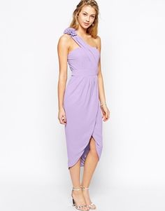 TFNC One Shoulder Pencil Dress With Wrap Skirt And Corsage Detail