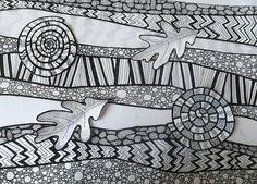 """Fossils and Strata.  More doodling in my sketchbook.  Under the earth. Looks good on black.  Size 15"""" x 11"""""""
