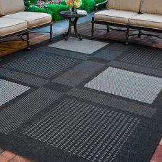 Courtyard Black/Sand (Black/Brown) 8 ft. x 11 ft. Indoor/Outdoor Area Rug