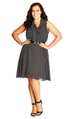 City Chic Spotty Frill Front Dress - Women's Plus Size Fashion City Chic - City Chic Your Leading Plus Size Fashion Destination Plus Size Womens Clothing, Plus Size Fashion, Clothes For Women, Plus Size Dresses, Dresses For Work, Dresses Dresses, City Chic Online, Plus Size Intimates, Plus Size Girls