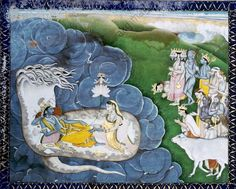 Vishnu dreams the world.. Kangra school, 18th C.  Vishnu, on snake Shesha in the ocean of Milk, dreams the world.