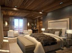 Schlafzimmer natur ~ Berghütte design holz wand kopfteil leder rustikaler stil