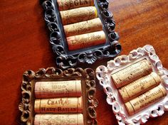 4 Black Rustic Cork Coasters Set of 4 by ScatteredTreasures
