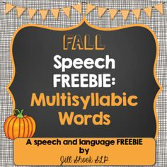 This Fall-themed Speech and Language Packet is a MUST HAVE for back-to-school and fall! This set of activities for multisyllabic words includes activities to target articulation, fall vocabulary, and more in a fun, interactive way for your Preschool-3rd grade caseload!
