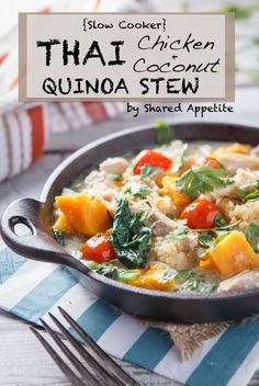 {Slow Cooker} Thai Chicken and Coconut Quinoa Stew - by @Chris Cote Cote @ Shared Appetite  An easy, healthy slow cooker crockpot recipe for Thai Chicken Coconut Stew with Quinoa, Sweet Potatoes, Bok Choy, and Tomatoes.  It's gluten-free and possibly paleo friendly (depending on who you ask).