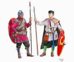 Roman milites (soldiers) of the Legio Palatina of the Primani and the Auxilia Palatina of the Celtae, at the time of the Battle of Argentoratum. By Igor Dzis Ancient Rome, Ancient History, Military Costumes, Rome Antique, Roman Legion, Celtic Warriors, Roman Era, Empire Romain, Early Middle Ages
