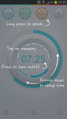 Alarm clock setup tooltip.
