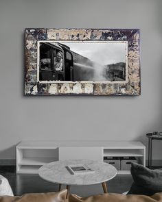 Large print on canvas in pressed steel frame. The antique pressed steel frame with it's beautiful patina lends texture and authenticity to this vintage scene. Framed Canvas Prints, Canvas Frame, Steel Frame House, Ceiling Panels, Conductors, Large Prints, Authenticity, Cotton Canvas, Upcycle