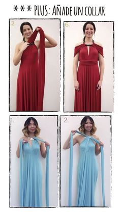 Hello again! We return to the fray with one of my infallible DIYs of every vera . Infinity Dress Ways To Wear, Infinity Dress Styles, Infinity Dress Tutorial, Multiway Bridesmaid Dress, Infinity Dress Bridesmaid, Diy Dress, Dress Up, Vestido Convertible, Robe Diy