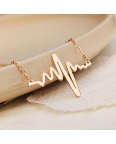 heartbeat necklace 18K rose gold color pendant necklace