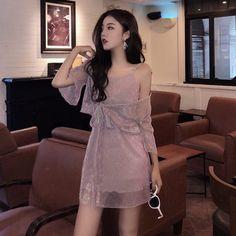 England style autumn Korean fashion vintage new pleated bright silk v-neck strap dresses and shawl cardigan two-piece suit Korean Fashion Dress, Korean Dress, Ulzzang Fashion, Kpop Fashion, Korean Outfits, Cute Fashion, Asian Fashion, Fashion Dresses, Fashion Vintage