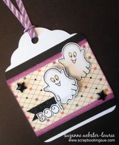Scrapbooking Sue: Halloween Boo Tag with Close To My Heart (CTMH) Scaredy Cat papers and Frightfully Fun stamp set. www.scrapbookingsue.com