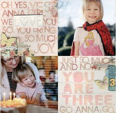 Scrapbook Layouts   Ali Edwards   use the stampers on reg paper to personalize.  love it.