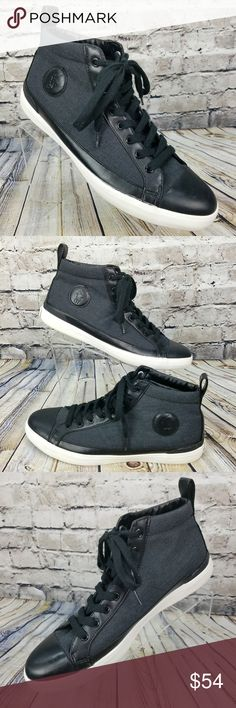 POLO Ralph Lauren - Fashion High Top Sneaker Shoes Men's POLO Ralph Lauren - Fashion High Top Sneaker Shoes  Pre Owned Condition - Does Not Include Original Box  Style Name: Clarke  Size: 12 D     Color = Black & White  Material = Canvas Polo by Ralph Lauren Shoes Sneakers