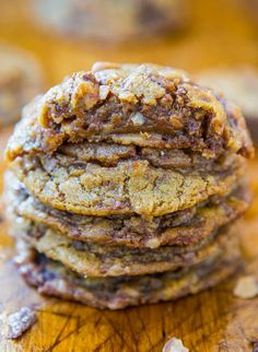 Soft and Chewy Toffee and Milk Chocolate Peanut Butter Cookies (gluten-free) - No Butter & No Flour